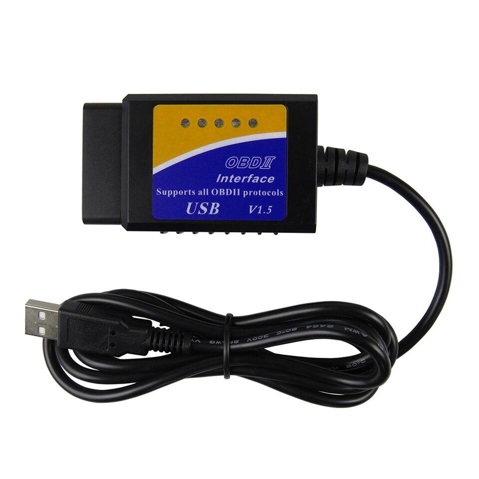 Elm327 USB OBD2 OBDII Scanner ULME 327 USB V1.5 Auto Diagnose Interface Scanner Tool ELM-327 V 1,5 OBD 2 diagnose-Tool