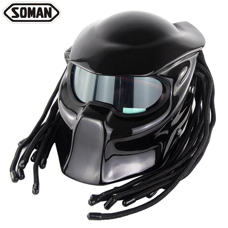 Predator Full Viso Casque Motor Moto Casco In Fibra di Vetro Ironman Treccia Verspa la certificazione DOT Soman 957