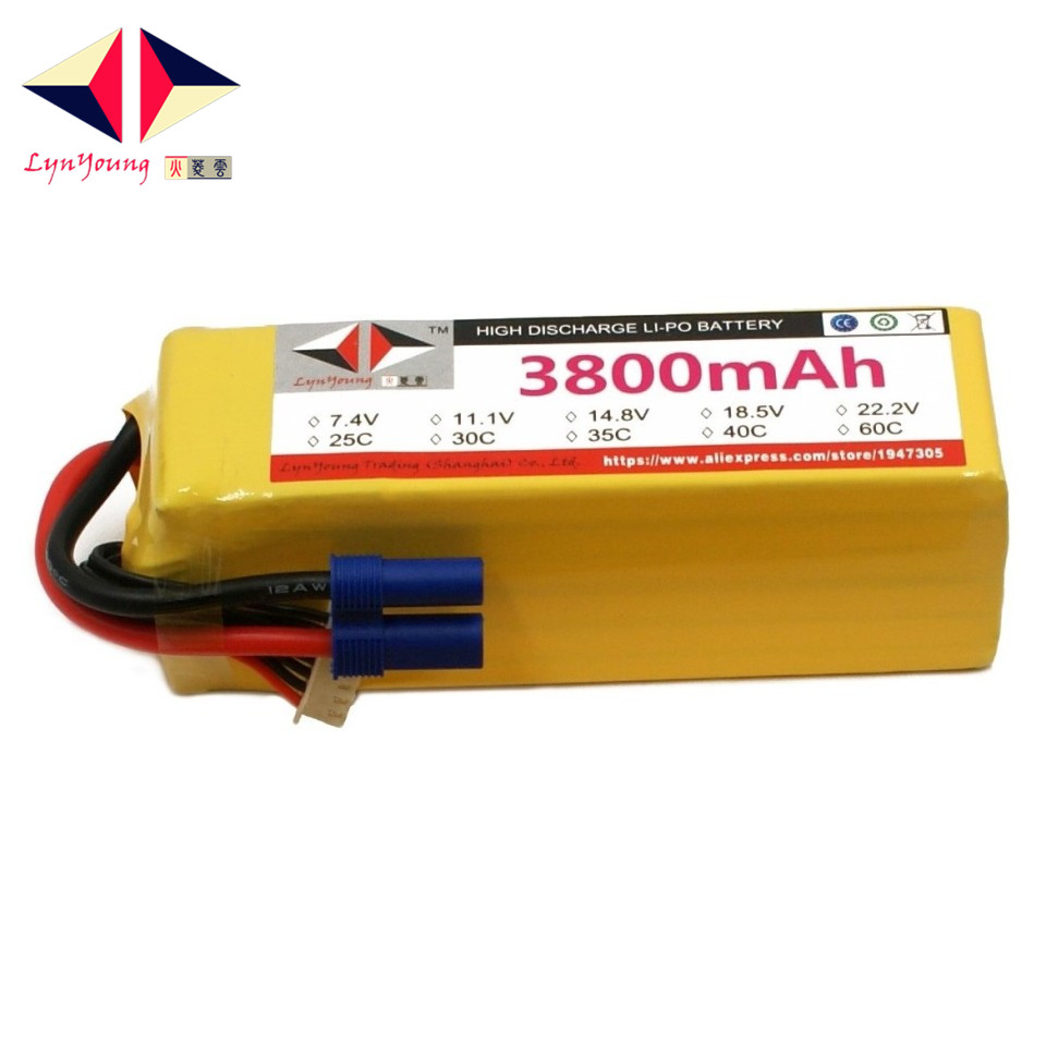 3800mAh 22.2V 25C 6S LYNYOUNG lipo battery for RC Airplane Helicopter Quadrotor Rechargeable AKKU Tank UAV Car Boat Storage mos rc airplane lipo battery 3s 11 1v 5200mah 40c for quadrotor rc boat rc car