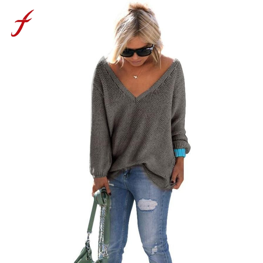 FEITONGFemale Sweater Long Sleeve Knitted Pullover New Autumn Winter Loose Sweater Fashion V Neck Solid Jumper