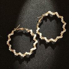 New Pearl Hoop Earrings For Women Exaggerates Oversize Pearl Circle Ear Dangle Earrings Fashion Europe Nightclub Jewelry
