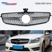 Черный/Щепка гоночный автомобиль решетка для Mercedes W204 гриль 2007-2014 C300 C200 C180 AMG Diamond Chrome эмблема сетка переднего бампера