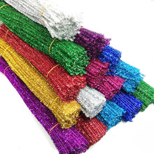 100pcs 0.6x30cm Glitter Chenille Stems Pipe Cleaners Kids Toys DIY Craft Supplies For Crafting Educational
