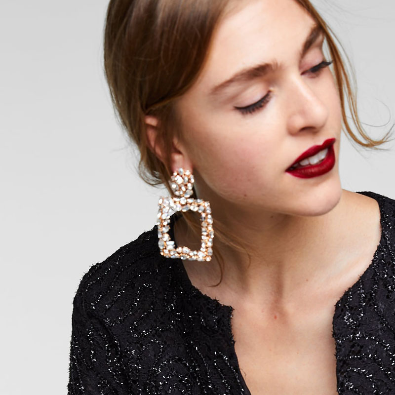 Best lady ZA Trendy Metal Statement Earrings For Women Shiny Fashion Drop Dangle Earrings Wedding Party Bohemian Christmas Gifts