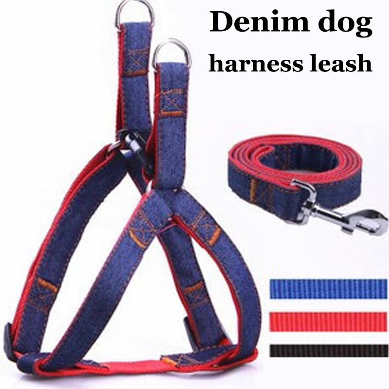 Small large Big dog pet cat harness Leash pitbull golden retriever dog harness vest chain lead Adjustable jeans harness for dog