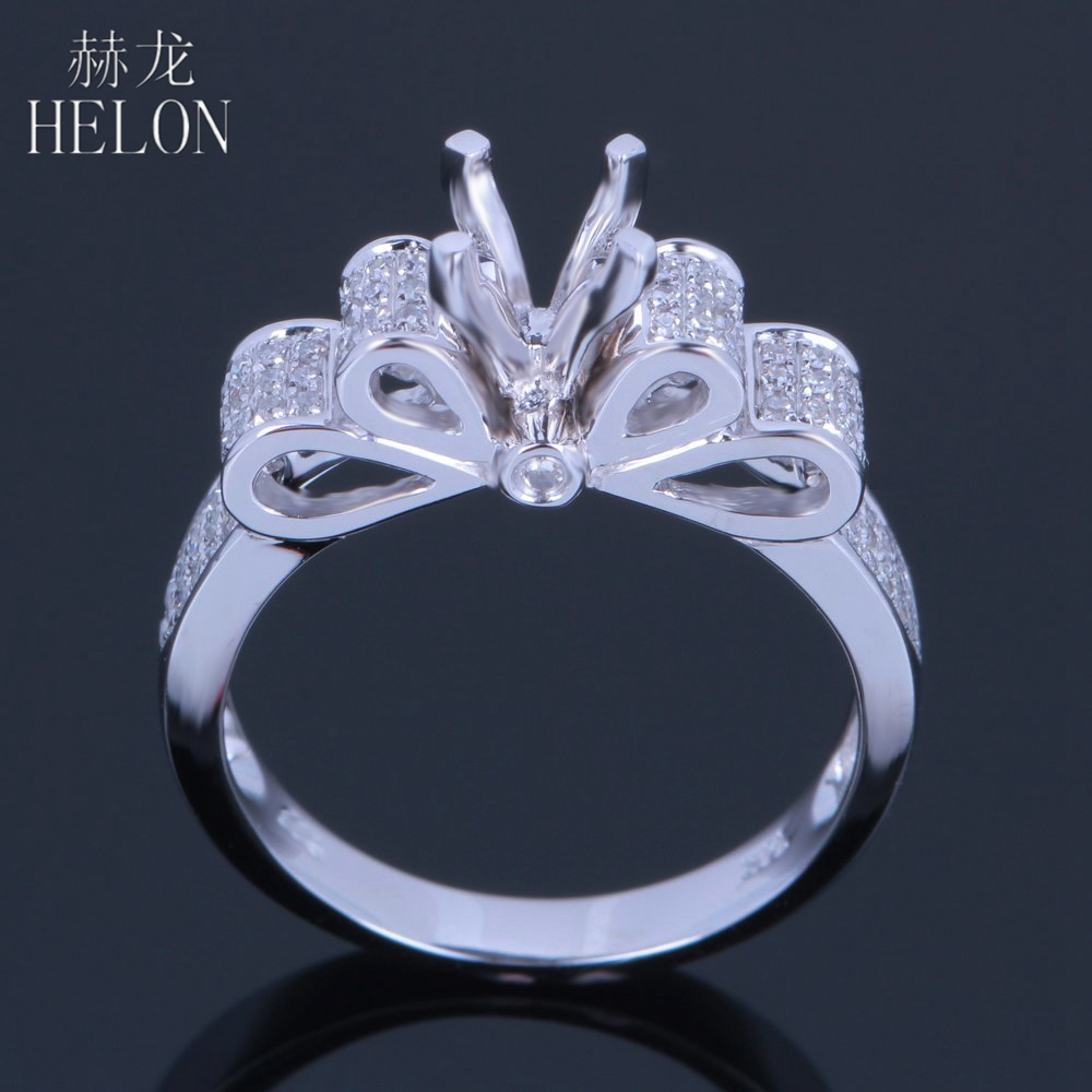 HELON Solid 10kt White gold 5 5 6 5mm Round Cut Pave Genuine Natural Diamonds Jewelry
