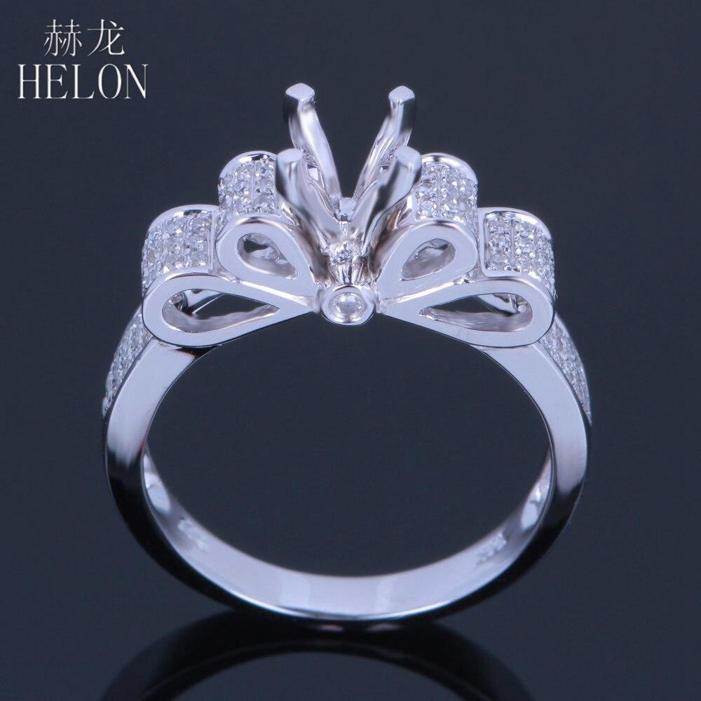 HELON 10kt oro Bianco Solido 5.5-6.5mm Taglio Rotondo Pavimenta Genuine Diamanti Naturali Gioielli Semi-Mount di Fidanzamento Wedding Sottile Anello