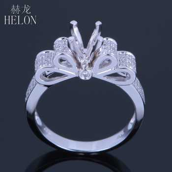 HELON Solid 10kt White gold 5.5-6.5mm Round Cut Pave Genuine Natural Diamonds Jewelry Semi-Mount Engagement Wedding Fine Ring - DISCOUNT ITEM  15% OFF All Category