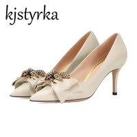 Kjstyrka 2018 New High Heels Shoes Women Pumps Stiletto Thin Heel Pointed Toe Bowtie Bee Matal