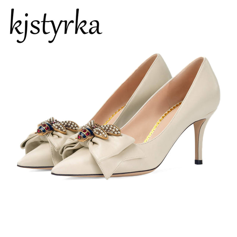 Kjstyrka 2018 New High Heels Shoes Women Pumps Stiletto Thin Heel Pointed Toe Bowtie Bee Matal Decoration Zapatos Shallow Dress famiao women pumps goddess party wedding shoes 2017 new thin heels new zapatos mujer pointed toe golden superstar shoes