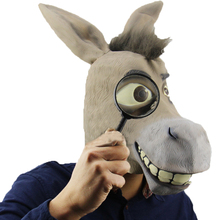 Full Face Cosplay Scary Latex Donkey Mask Animal Masks Masquerade Adult Ghost Mask Halloween Props Costumes Fancy Dress Party egyptian anubis cosplay face mask pvc canis spp wolf head animal masquerade props party halloween fancy dress ball