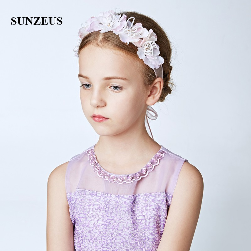 Flowers Ribbons Girls Headband With Beading Vintage Wedding Accessories For Hair Children Pageant Party Hair Decoration SG17