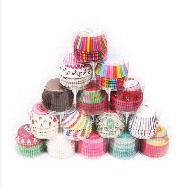 100pcs Muffins Paper Cupcake Wrappers Baking Cups Cases Muffin Boxes Cake Cup Decorating Tools Kitchen Cake Tools Diy