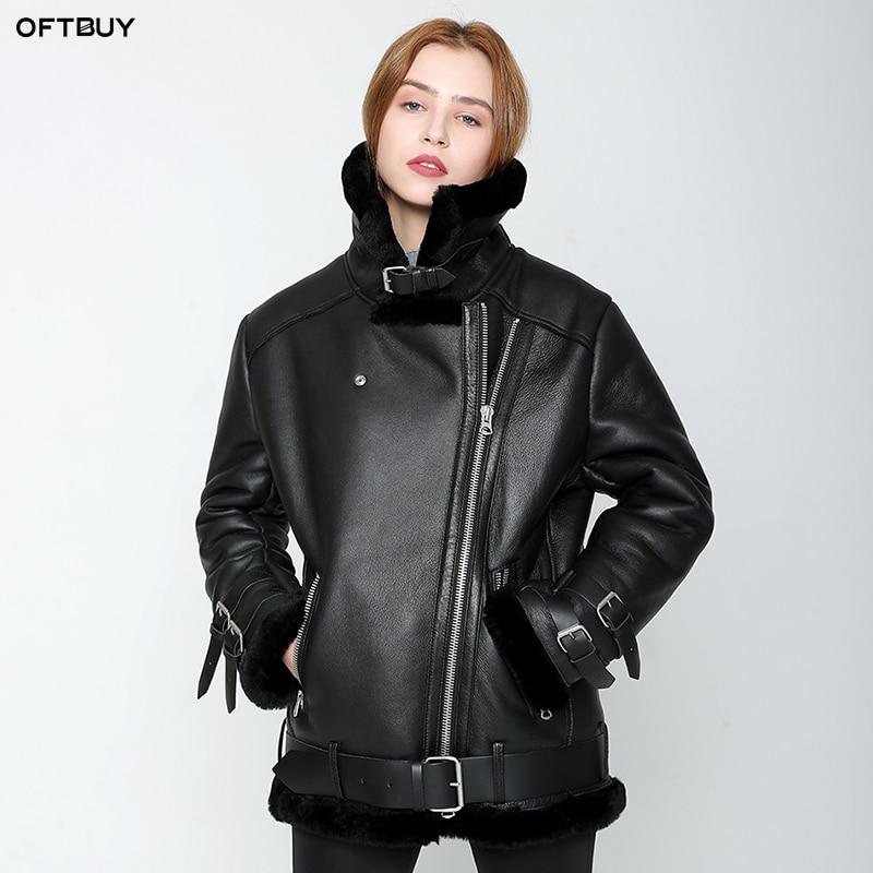 OFTBUY 2019 nouvelle veste d'hiver femmes Double-face De Fourrure manteau parka en peau de mouton Véritable En Cuir chaud épais réel laine de fourrure doublure marque