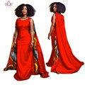 BRW Весна Плюс Размер 6xl Африканские Одежды для Женщин Плащ рукава Партии Базен Riche Dress Африканская Восковой Печати Dashiki Платья WY926