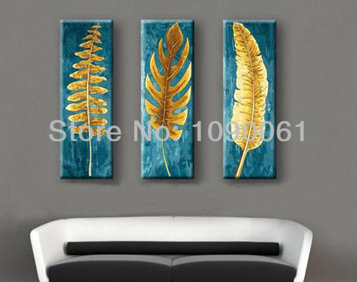 us $50.0 |hand painted 3 piece canvas wall art abstract modern gold leaves  oil paintings picture home decoration sets unframed-in painting &