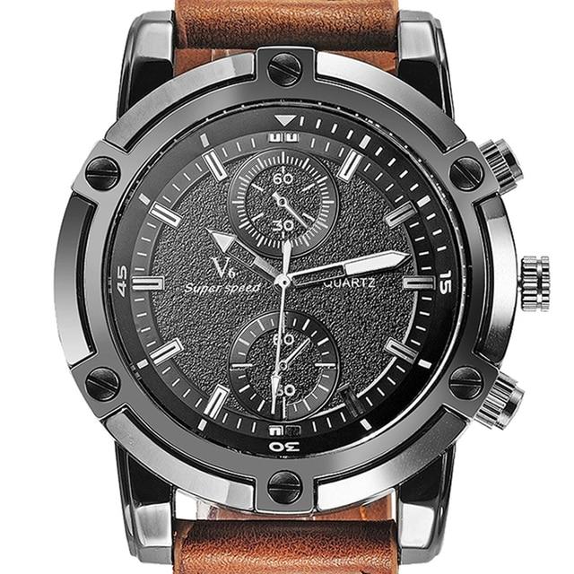 e0131c81111 Moda Casual dos homens Relógios V6 Marca Relógios Relógio de Luxo Elegante  Oversize Aço Dial Pulseira