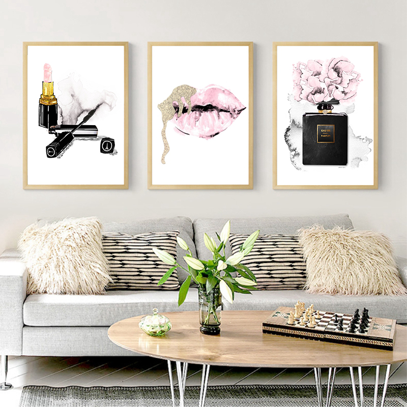 Makeup Perfume Lipstick Fashion Bedroom Wall Art Decor Canvas Painting , Vogue Pictures Fashion Illustration Posters Print
