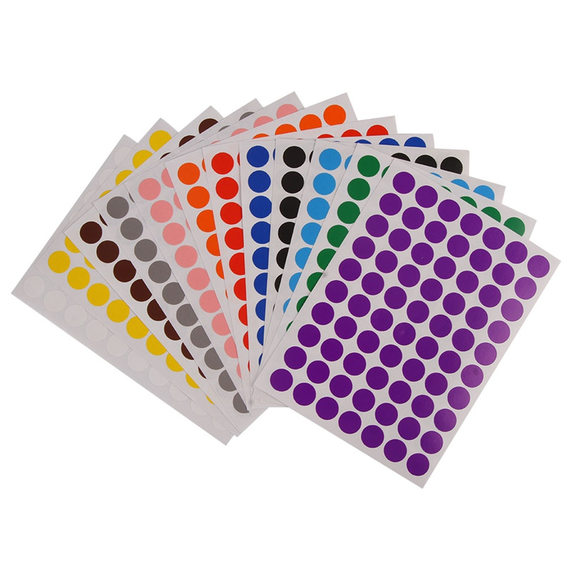 12 Sheets/Pack 10mm Circle Round Color Coded Adhesive Label Dot Sticker