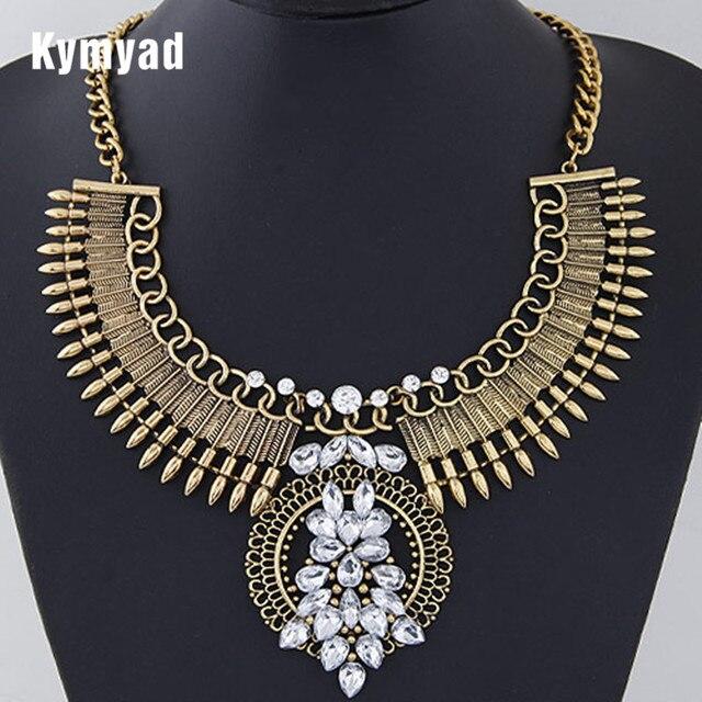 Kymyad Collier Femme vintage choker declaración collar mujeres collares Maxi collar cristal dirección grandes Collares