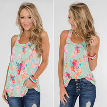 2019 Brand New Summer Ladies Women Sexy Boho Floral Print Sleeveless Solid Loose Tunic Top Shirt Plus Size