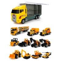 Children Truck Truck Big Truck Transporter Alloy Metal Car Model Portable Storage Box Boy Toy