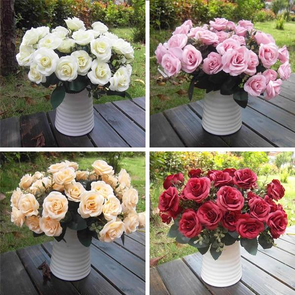 ᗐFalso artificial Rose seda flores 15 cabeza de flor hoja inicio ...