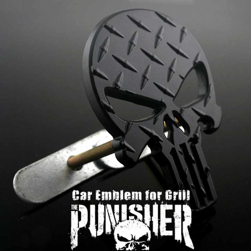 Bilhuvud Dekoration Svart Punisher Skull Bilemblem Emblem Diamantplatta för Auto Front Grille Coming of Age Ceremony Gåva