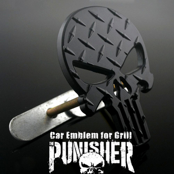 Car Head Decoration Black Punisher Skull Car Badge Emblem Diamond Plate for Auto Front Grille Coming of Age Ceremony Gift