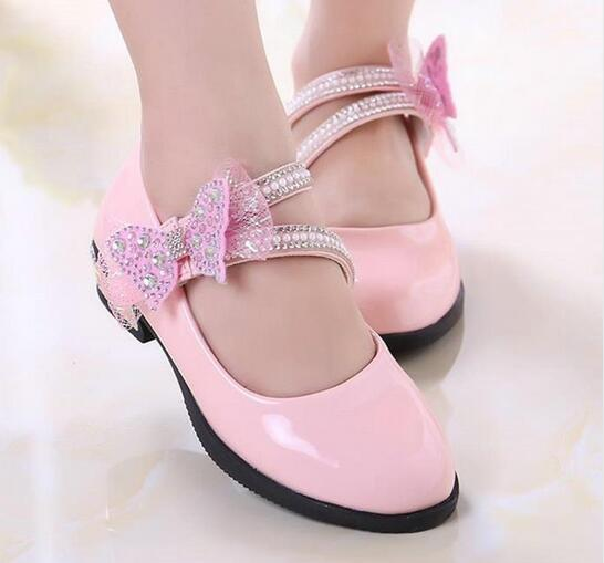 Childrens sports shoes 2018 autumn new pink red black veneer girls shoes childrens princess bow flower crystal PU shoes