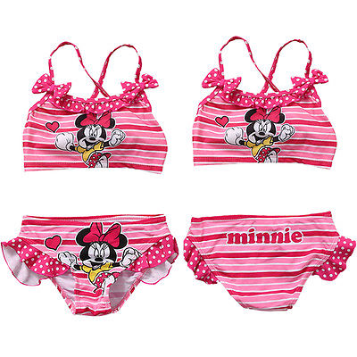 new minnie mouse  cartoon Girls children Kids Two-piece Swimming Top+Pant Swimwear Bathing Suit Swimsuit Costumes beach simba пупс minnie mouse
