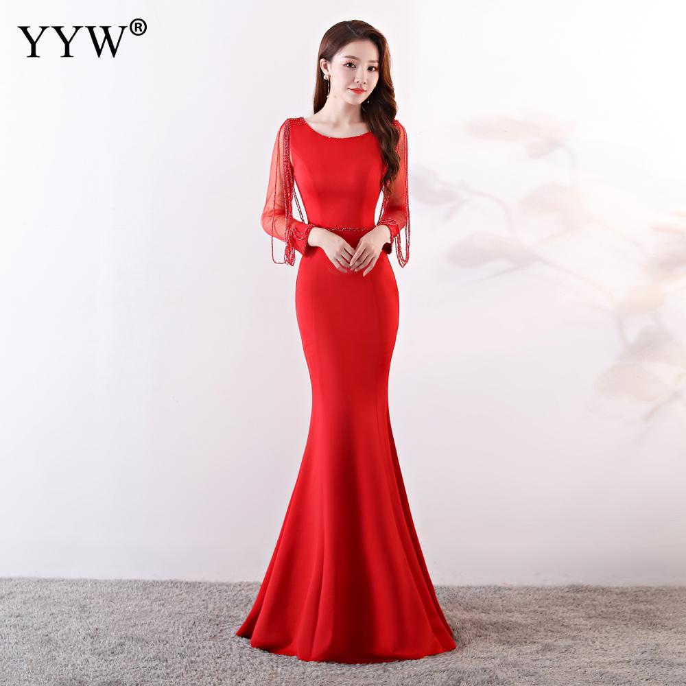 Elegant Celebrity Party Mermaid Dress Women Wine Red Long Sleeve Rhinestone Chain Fishtail Long Party Dress Club Formal Vestidos