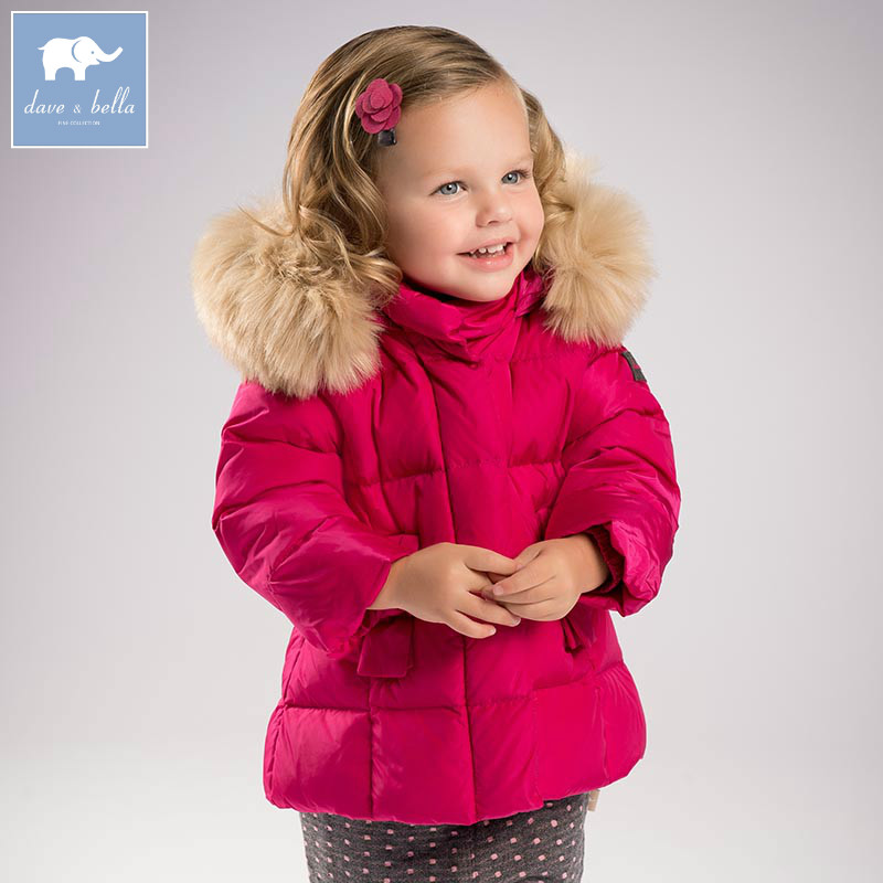 DB5859 dave bella winter baby girls down jacket children white duck down padding coat kids hooded outerwear db4631 dave bella winter infant coat baby girls red dots printed coat white duck down padded coat hooded outerwear