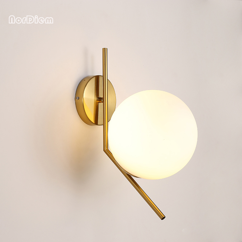 Foyer chambre mur du couloir de chevet lampe moderne molécule LOFT mur applique de haricots boule de verre applique murale à LED ronde balle mur lampe