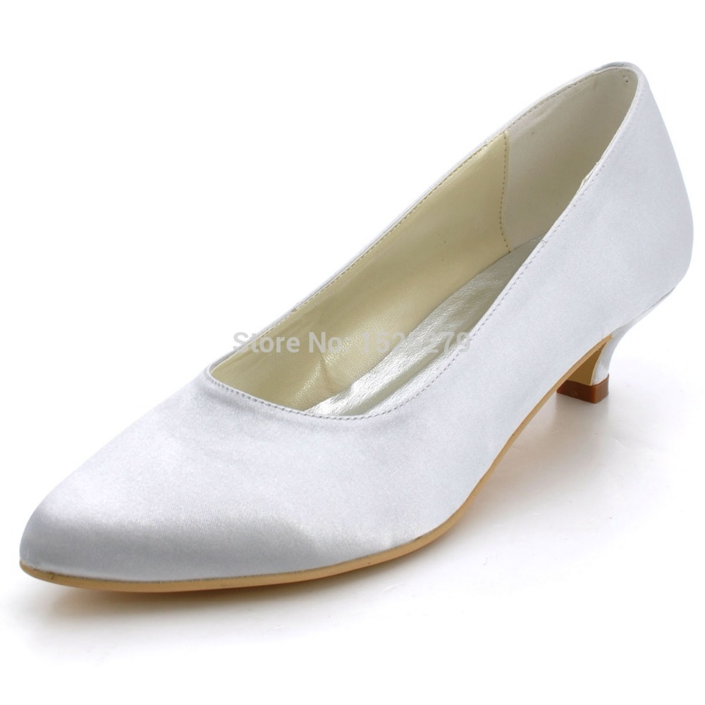 EP2089 Women Bride Silver Ivory White Closed Toe Prom Party Pumps Comfortable Low Heel 15 Wedding Satin Bridal Dress Shoes In Womens From On