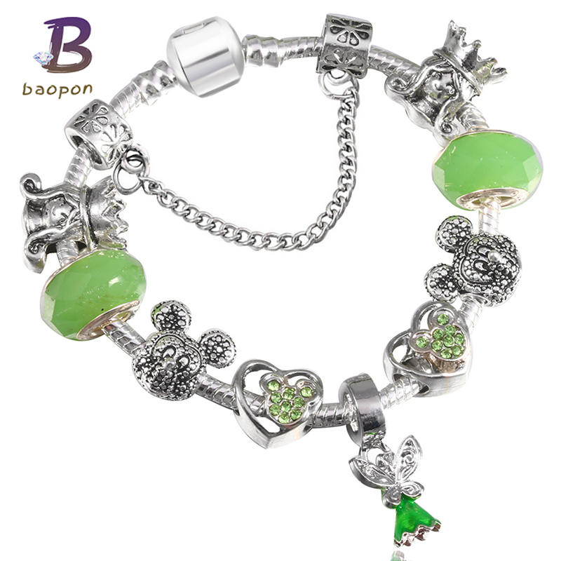 BAOPON Green Crystal Glass Animal Beads Lovely <font><b>Charm</b></font> <font><b>Bracelets</b></font>& Bangles with Dress Skirt Pendant <font><b>Pan</b></font> <font><b>Bracelet</b></font> Jewelry Gift image
