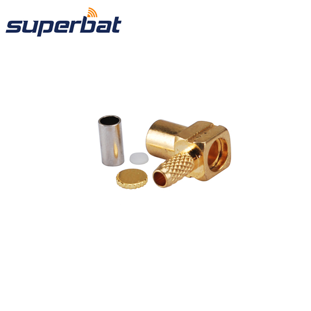 Superbat 50 Ohm MCX Jack Right Angle Crimp Female Connector for Cable RG174 RG178 LMR100