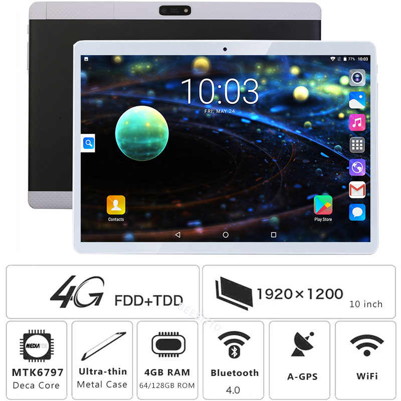 2019 חדש Deca Core 10 אינץ Tablet PC 4GB RAM 64GB 128GB ROM MT6797 1920*1200 IPS אנדרואיד 7.0 OS 8.0MP 3G 4G LTE FDD TABLET 10.1""