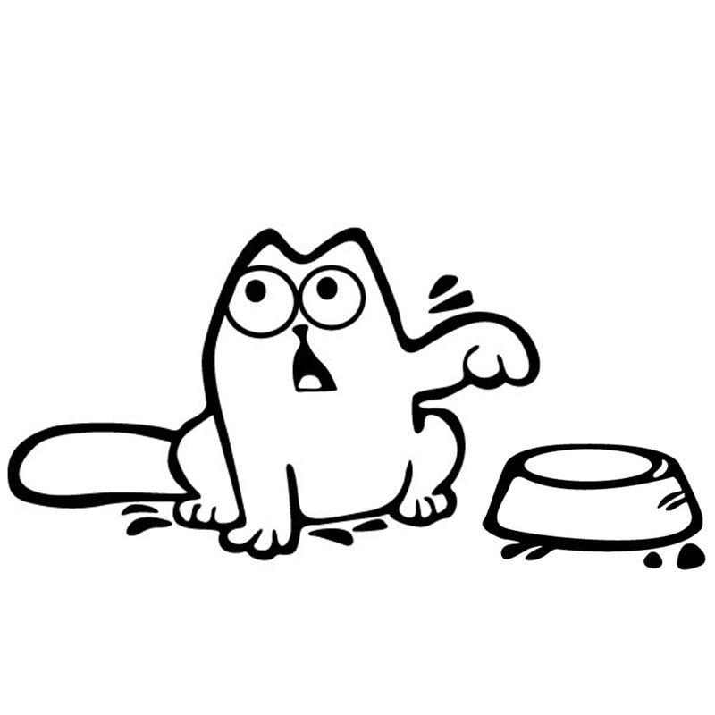 2019 Cartoon Fuel Cap Car Sticker Funny Hungry Simons Cat Sticker
