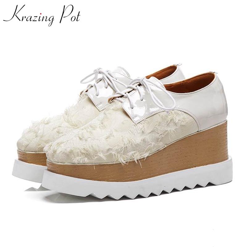 Krazing pot Autumn square toe special material lace up flat platform loafers breathable vintage modern fringe