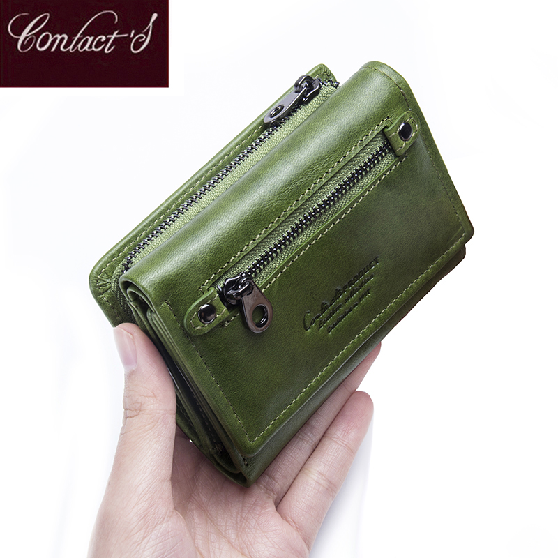 Contact's Genuine Leather Women Wallets 2020 New Design Fashion Female Purse Trifold Zipper Cash Photo Holder Wallet For Woman