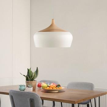 цена Modern Pendant Light Nordic Restaurant Pendant Lamp Oak Wood Lamp E27 Socket Wood Lampholder Hanging Light For living room онлайн в 2017 году