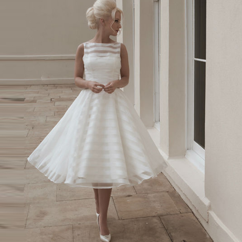 2016 gorgeous scoop neck tea length wedding dress short for Wedding dress with stripes