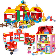 KACUU Large Size Building Blocks DIY Pink Princess Family House Toys Blocks Bricks Sets Kids Gifts For Children 20 100pcs lot garden plant flower stem 3 large leaves part building blocks bricks diy gifts x8 toys for children