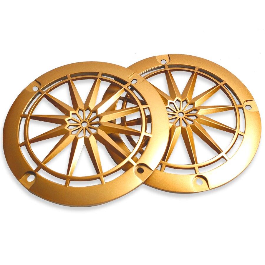 4 INCH Gold Car Audio Speaker Net Cover Car Mesh Enclosure Plastic Frame Speaker Repair DIY Accessories 2Pcs
