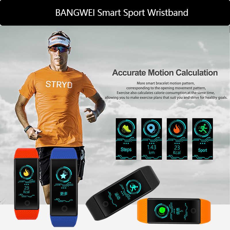 BANGWEI 2019 جديد الرجال سمر ووتش ضغط الدم مراقب معدل ضربات القلب كرة السلة جهاز تعقب للياقة البدنية الذكية الرياضة ووتش Reloj inteligente