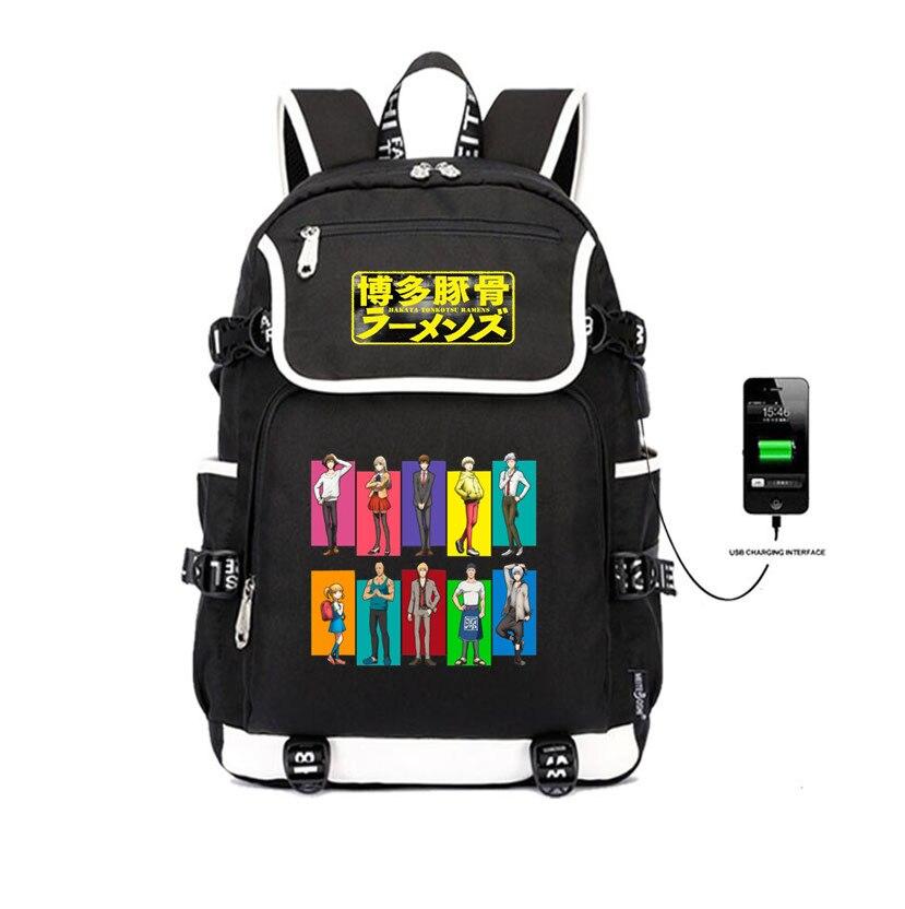 Japon anime Hakata Tonkotsu Ramens sac à dos USB Charge hommes femmes sacs de voyage ordinateur portable sac à dos étudiant livre sacs