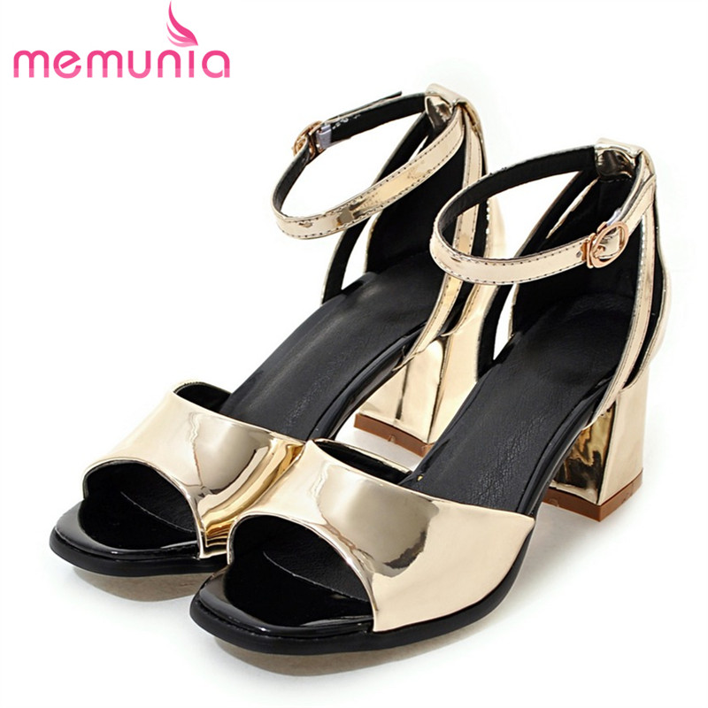 ФОТО MEMUNIA 2017 Sandals summer ladies shoes cover heel buckle fashion shoes woman solid special light pu leather big size 33-47