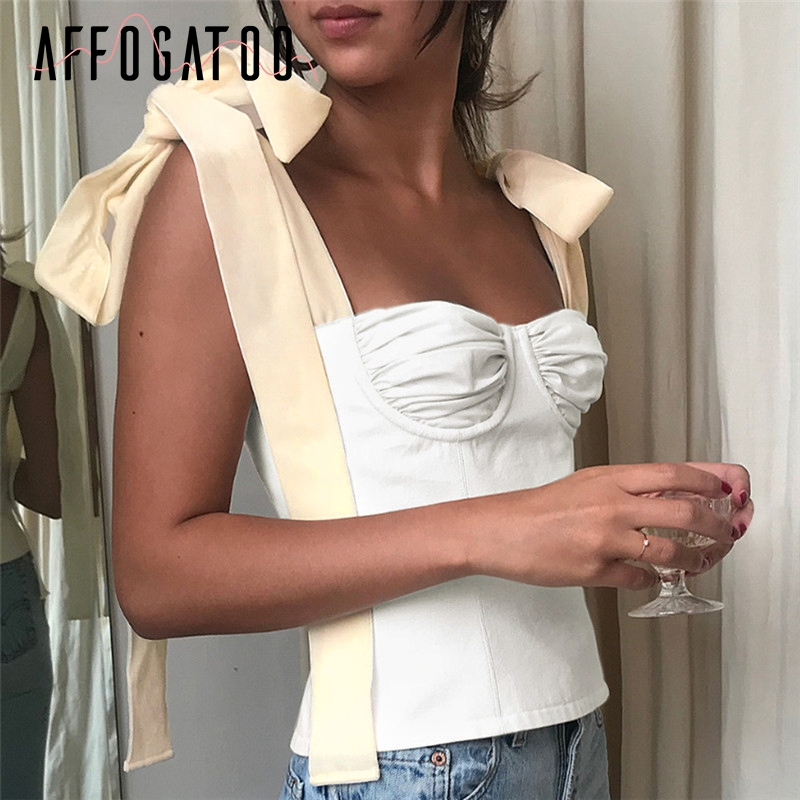Affogatoo Vintage bralette crop sexy   top   women cami Strap lace up white cami   top   shirt Streetwear padded camisole   tank     top   femme