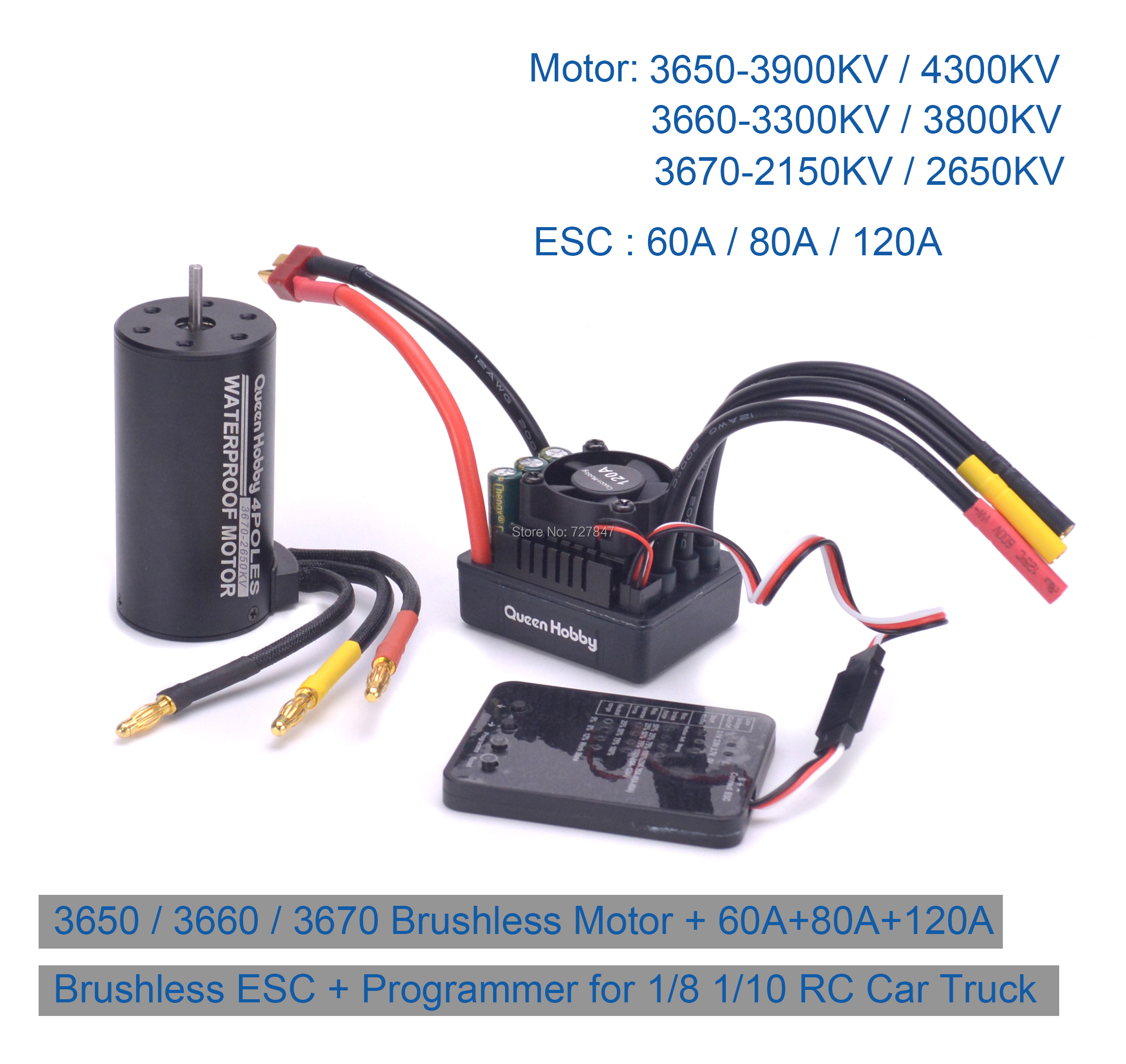 Readytosky 80A Brushless ESC 2-4S Electric Speed Controller for 1//8 RC Car Truck